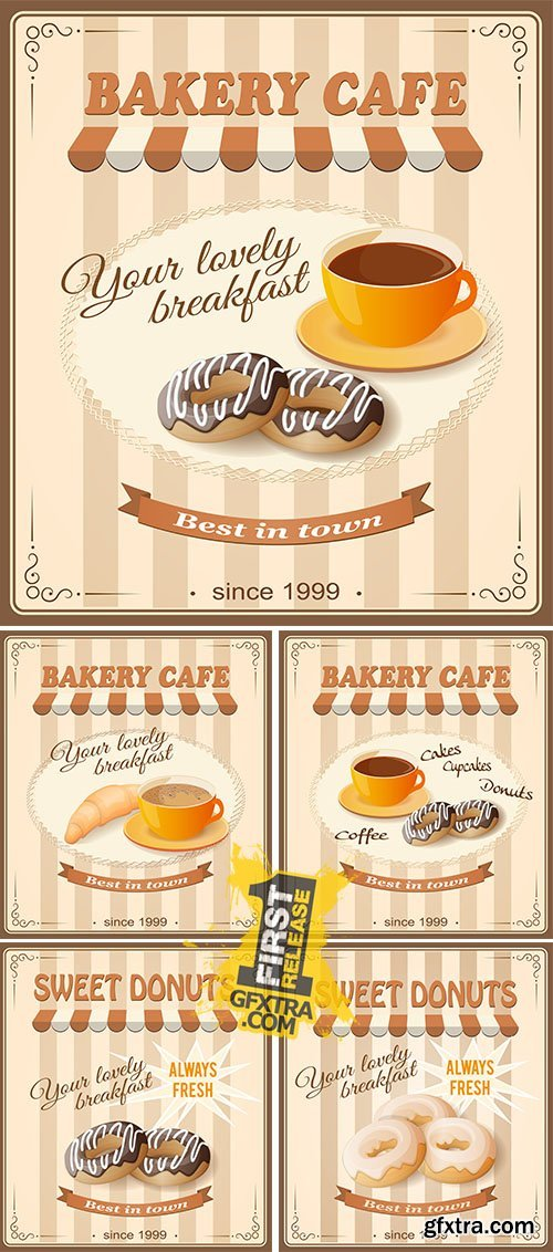 Stock: Banner sweet donuts