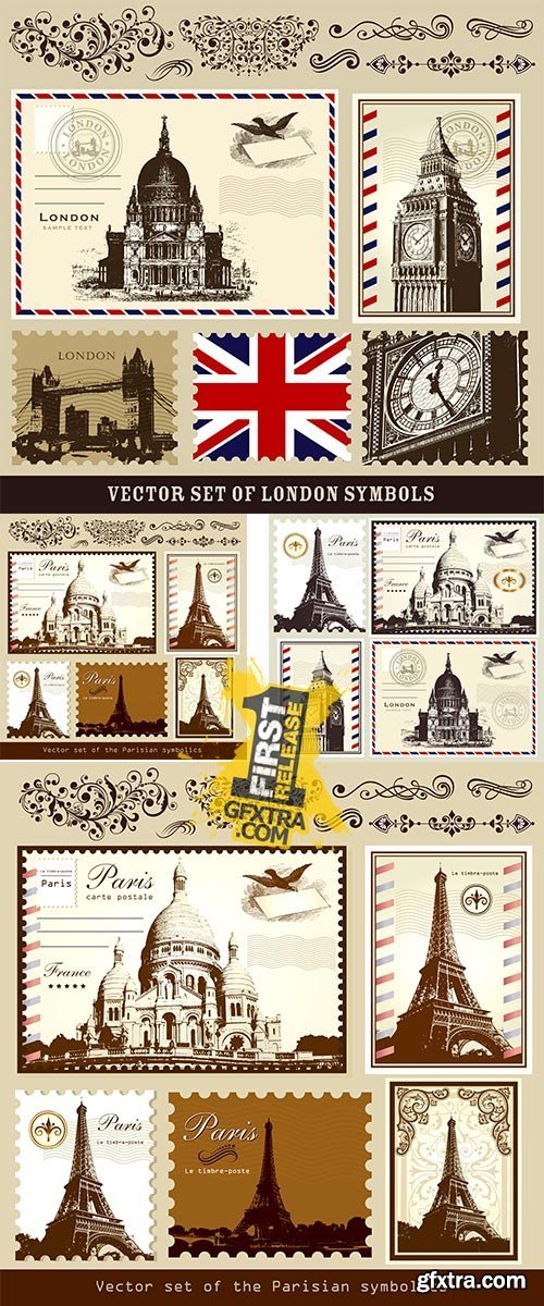 Stock: Vector symbols and landmarks