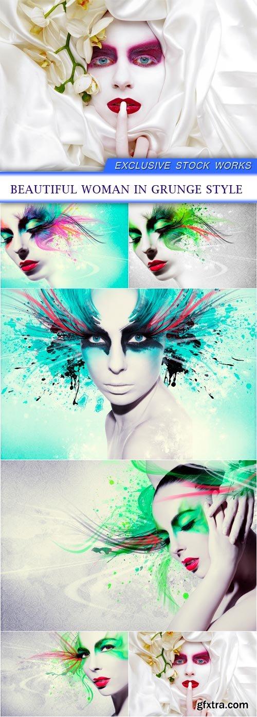 Beautiful woman in grunge style 6X JPEG