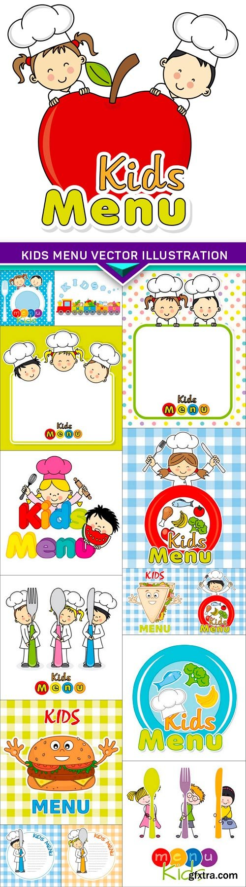 Kids menu vector illustration 15x EPS