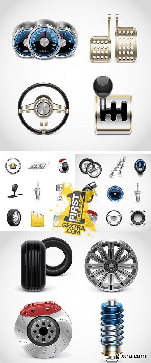 Stock: Car parts vector icons set