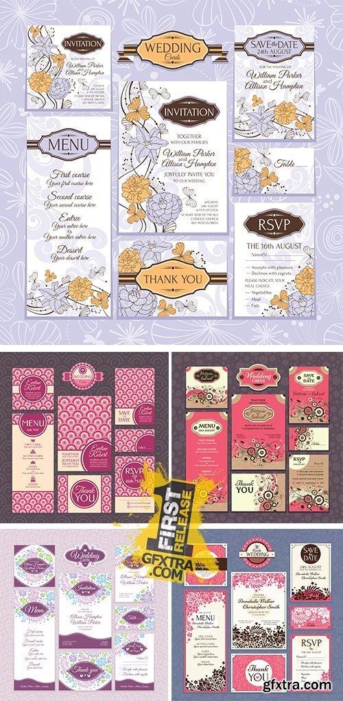 Stock: Set of wedding cards 4