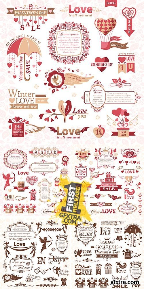 Stock: Set of Valentines Day design elements