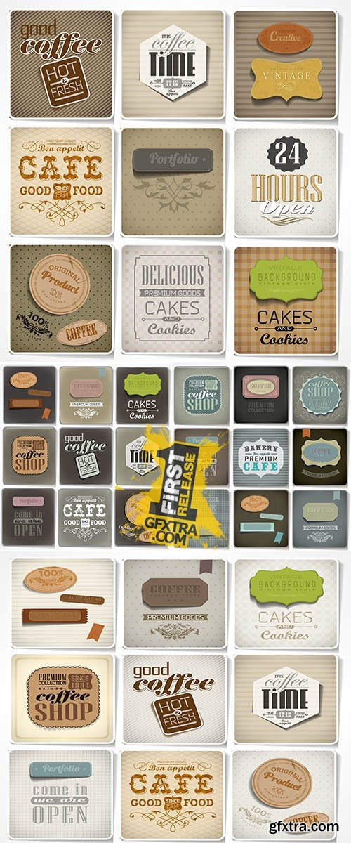 Stock: Retro labels and typography