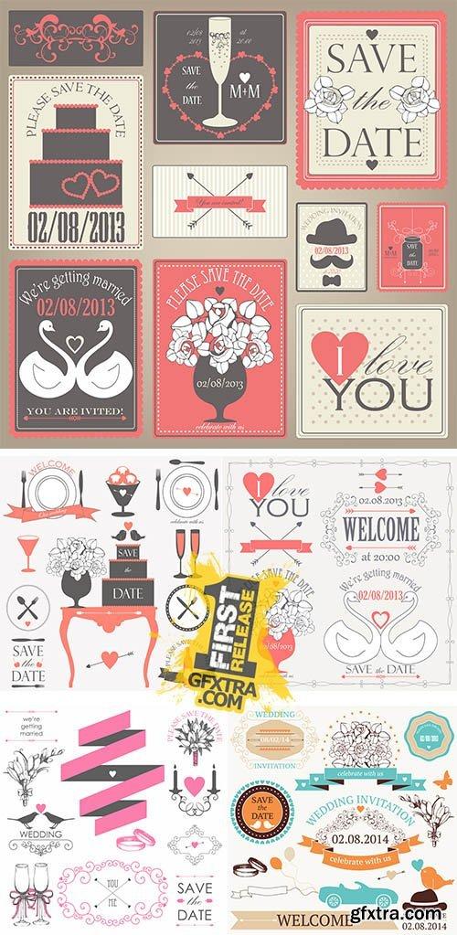 Stock: Decorative set of artistic wedding elements