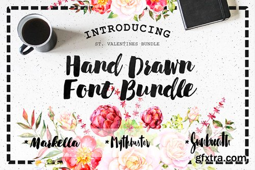 Creativemarket Hand Drawn Font Bundle 516059