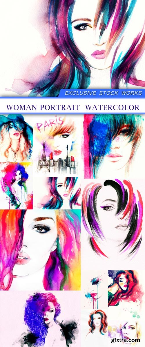 woman portrait watercolor 12X JPEG