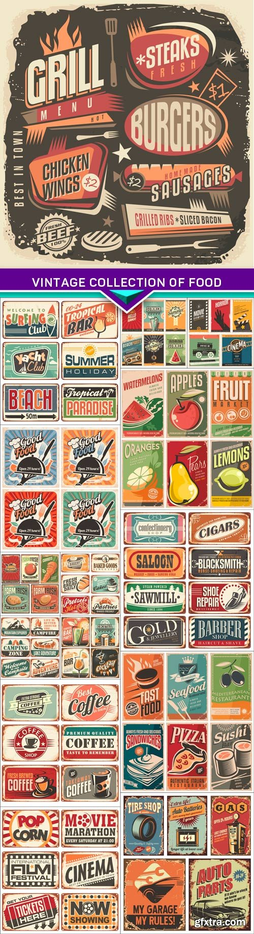 Vintage collection of food and restaurants posters 15x EPS