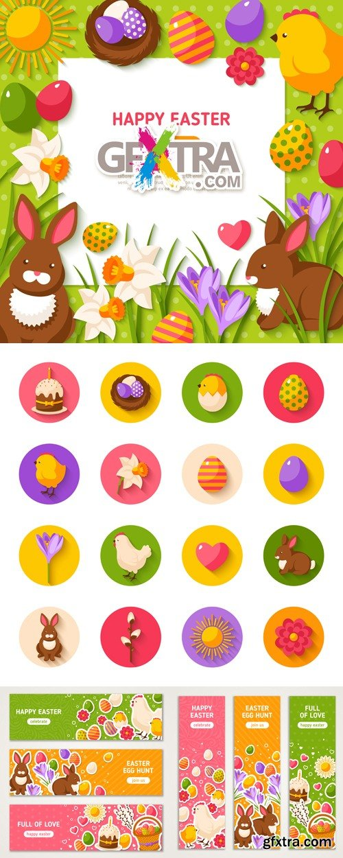 Easter Icons & Banners Vector
