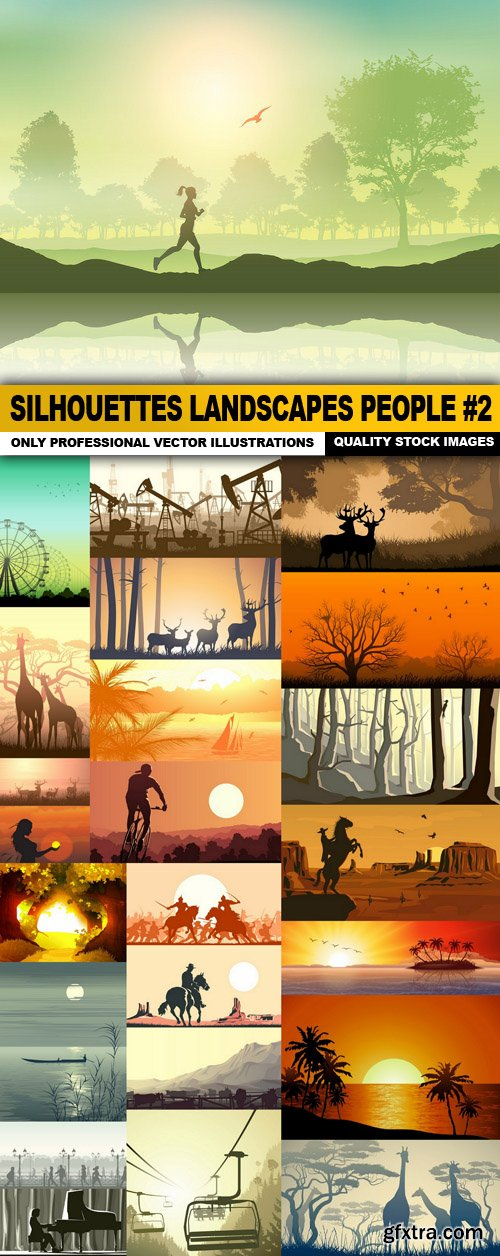 Silhouettes Landscapes People #2 - 25 Vector
