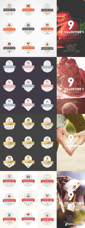 CM - Set of 9 St. Valentine's Badges 504734