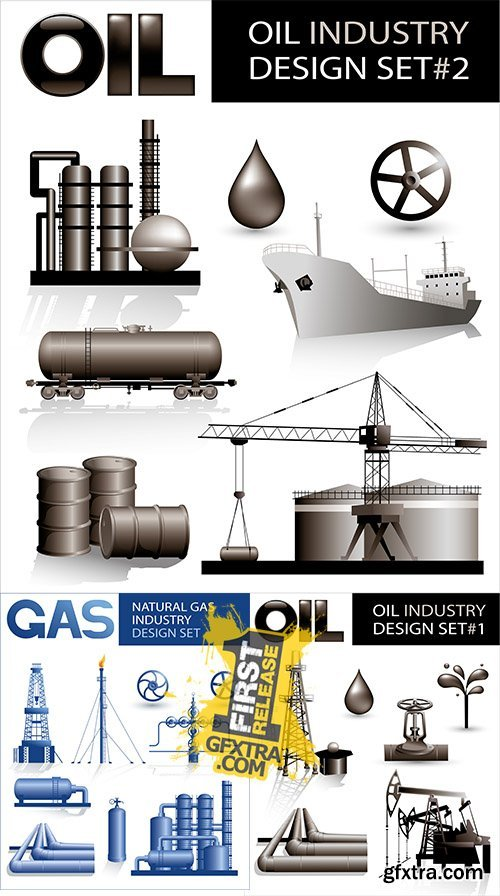 Stock: Design set of oil industry vector images