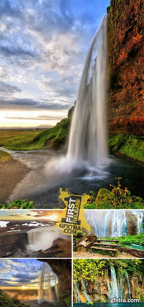 Stock Photo: Waterfall, Iceland - Seljalandsfoss