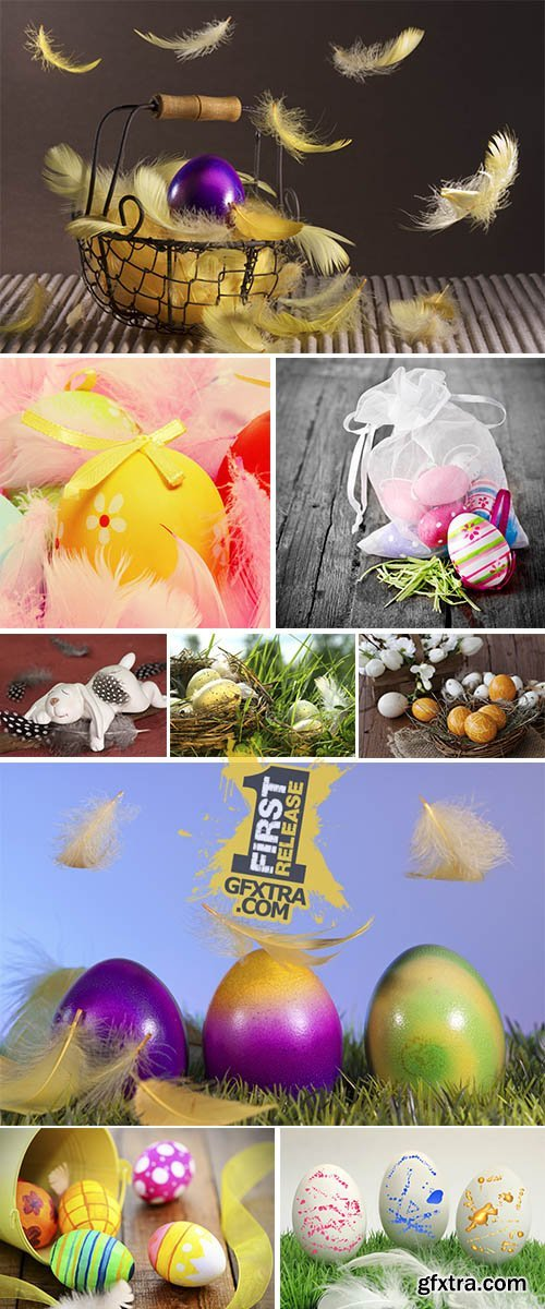 Stock Photo: Easter eggs and feathers