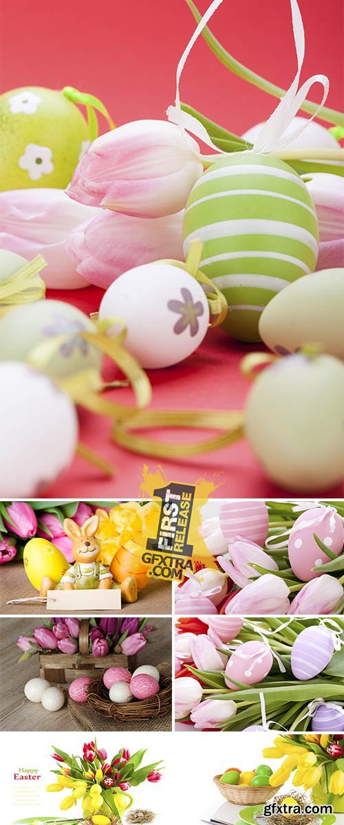 Stock Photo: Easter eggs and spring tulips