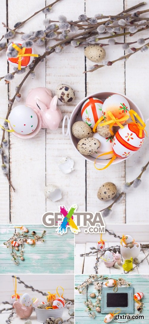 Stock Photo - Easter Decorations on Wooden Background 2
