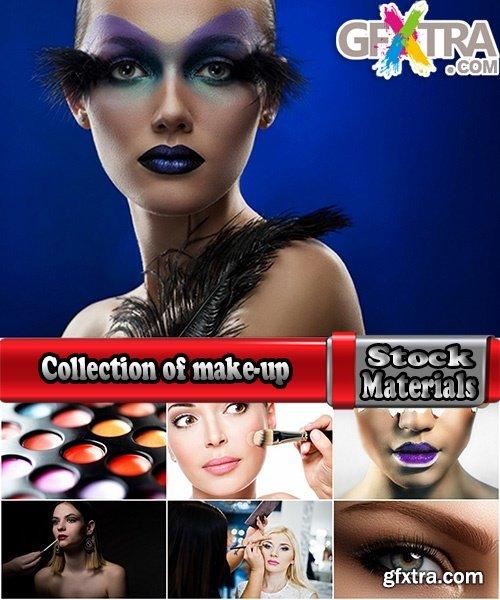 Collection of make-up set for make-up lips lipstick mascara powder brush 25 HQ Jpeg