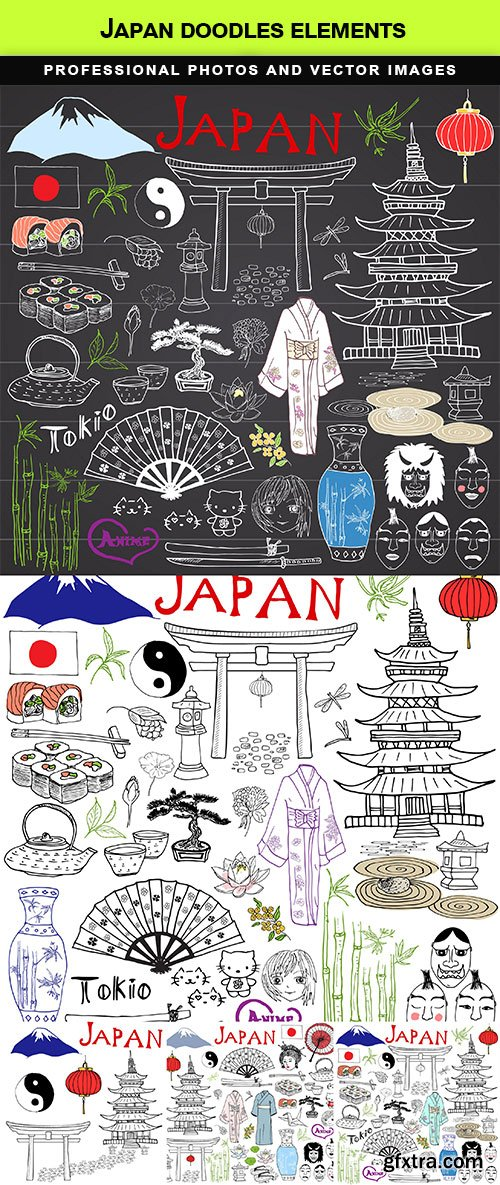 Japan doodles elements