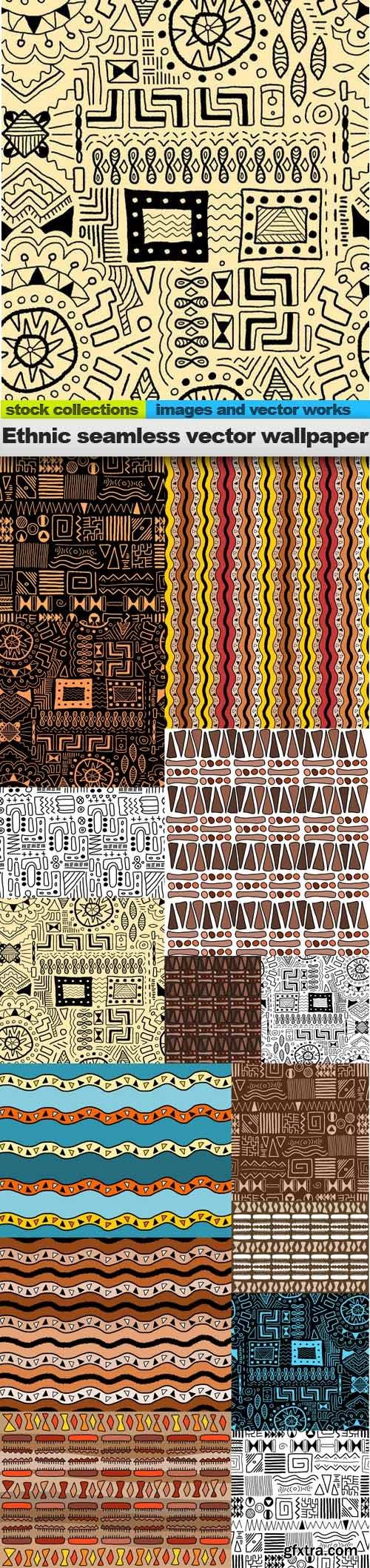 Ethnic seamless vector wallpaper, 15 x EPS