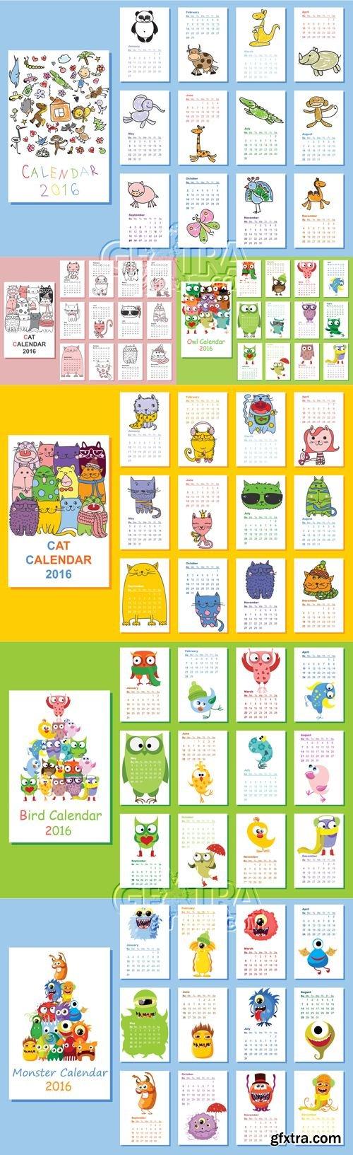 Cute Calendars 2016 Vector