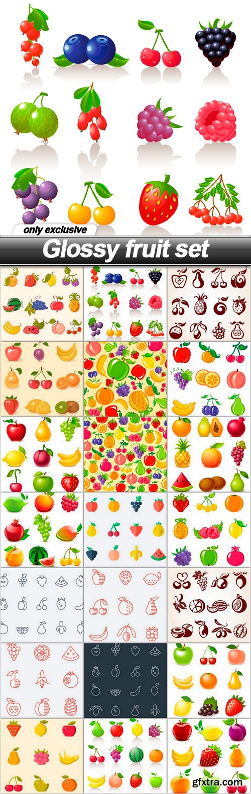 Glossy fruit set - 21 EPS