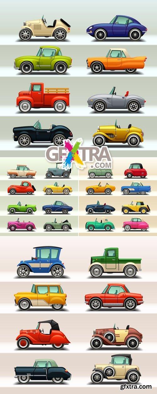 Retro Cars Icons Vector