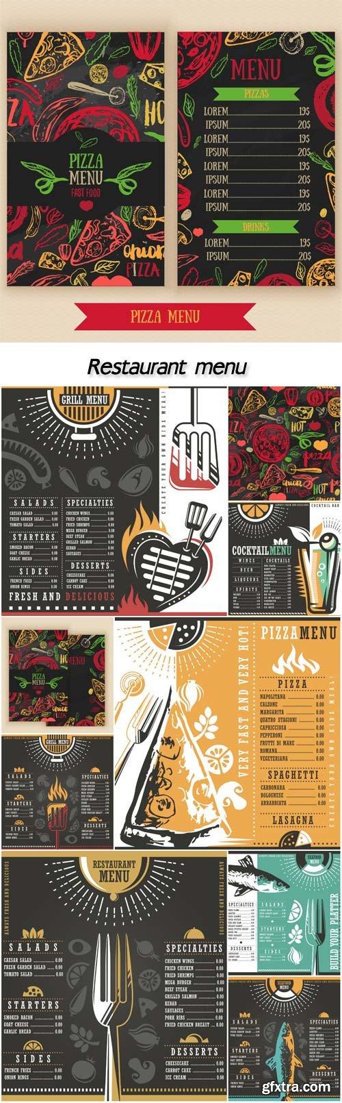 Restaurant menu, seafood, grill, pizzeria