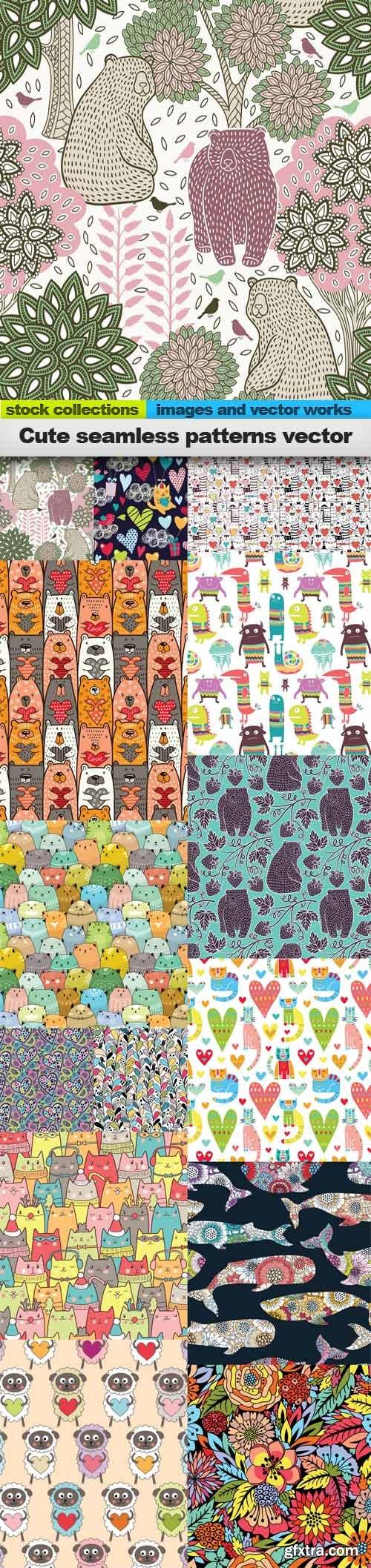 Cute seamless patterns vector, 15 x EPS