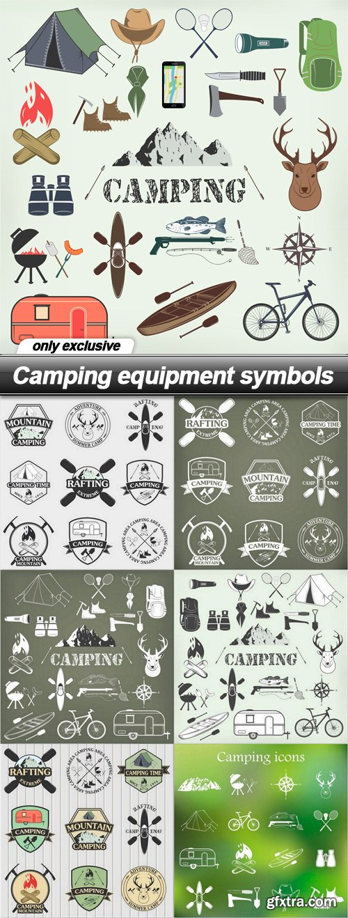 Camping equipment symbols - 7 EPS