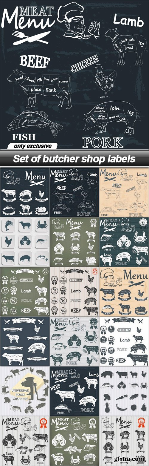 Set of butcher shop labels - 18 EPS