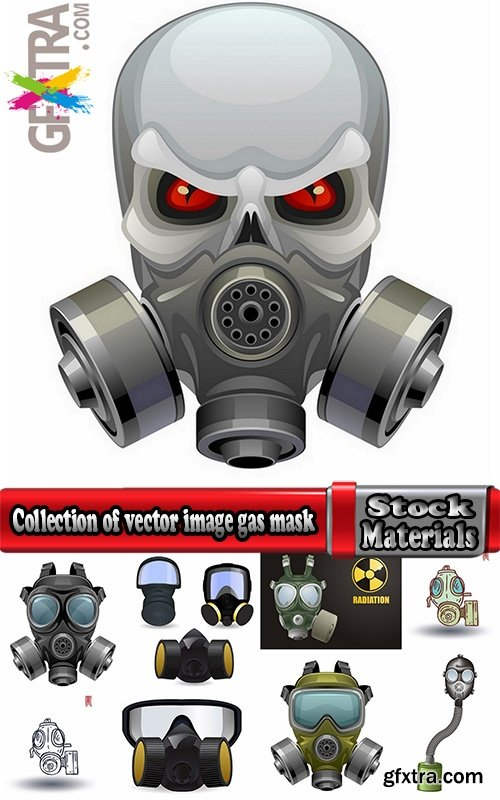 Collection of vector image gas mask on the face of the gas ...
