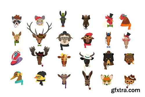 Creativemarket Big Bundle of Fashion Animal Icons 524961