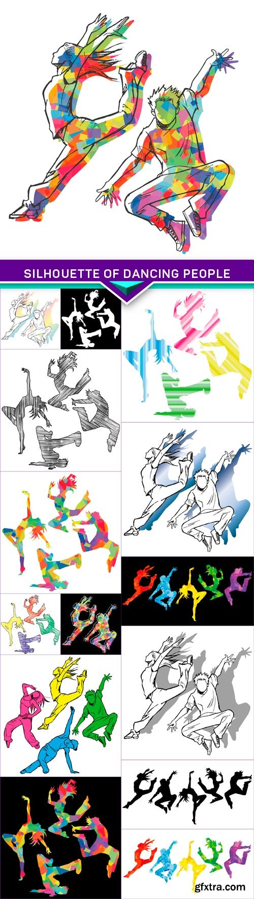 Silhouette of dancing people 15x EPS