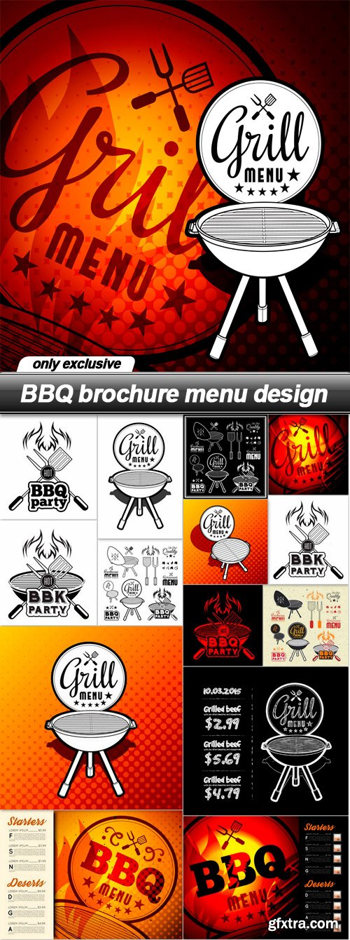 BBQ brochure menu design - 15 EPS