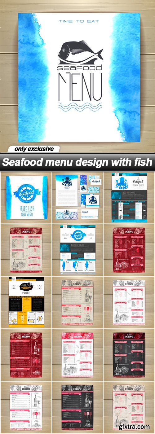 Seafood menu design with fish - 16 EPS