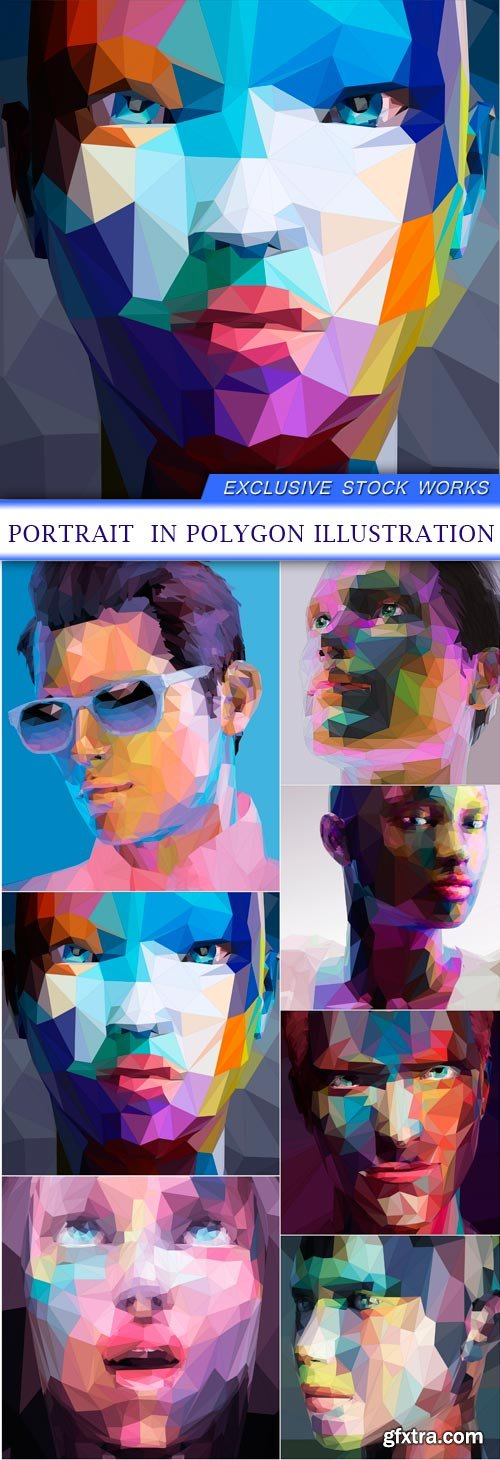 portrait in polygon illustration 7X EPS