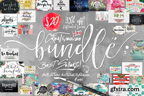 Creativemarket Bundle of Fonts and Graphics 542654