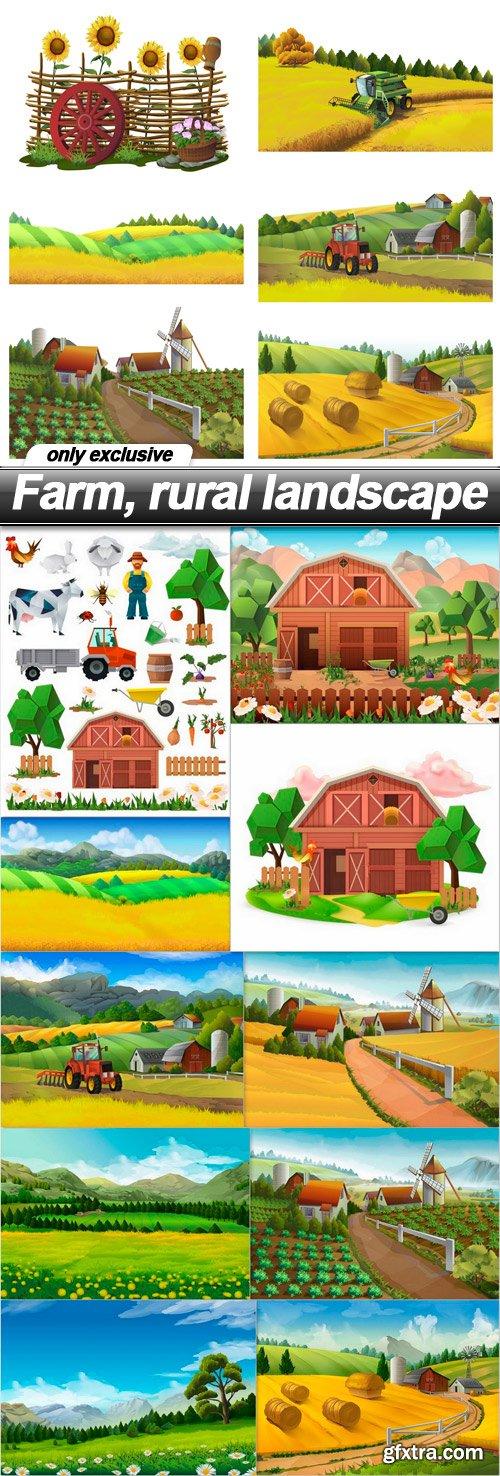 Farm, rural landscape - 11 EPS
