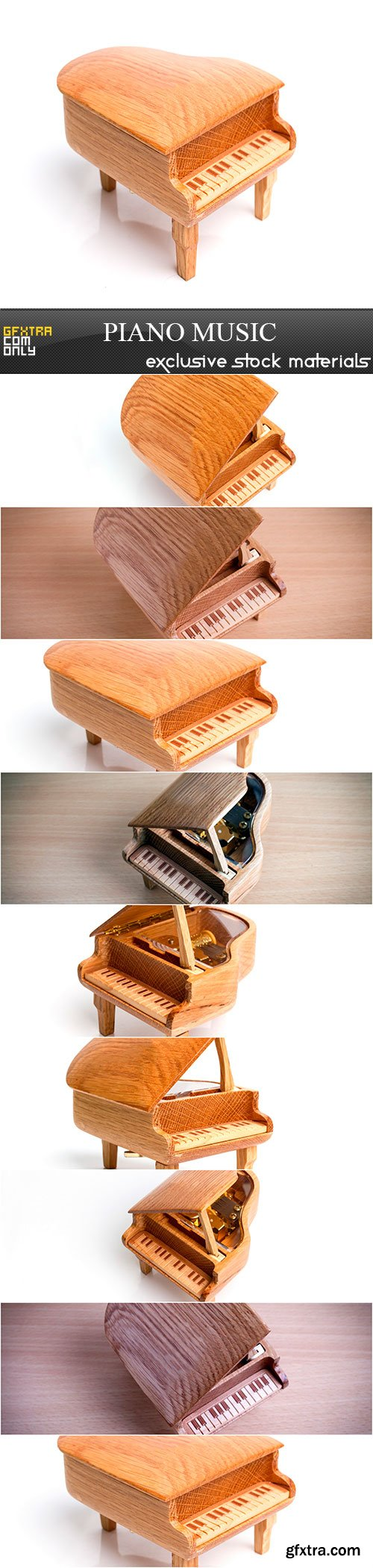 Piano music box isolated on white background, 9 x UHQ JPEG