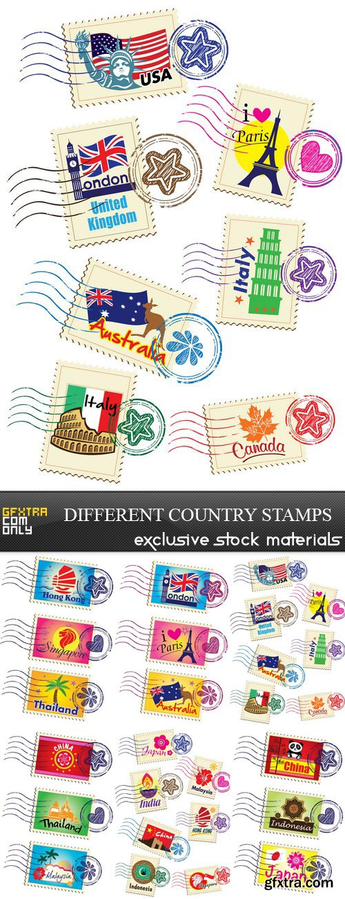 Different Country Stamps - 6xEPS