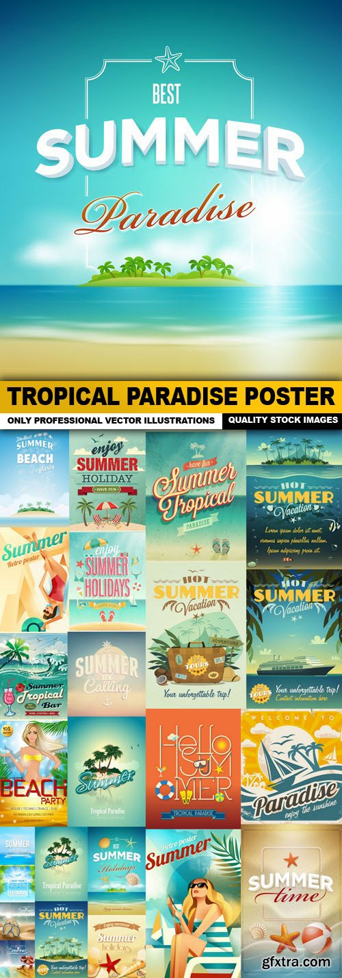 Tropical Paradise Poster - 25 Vector