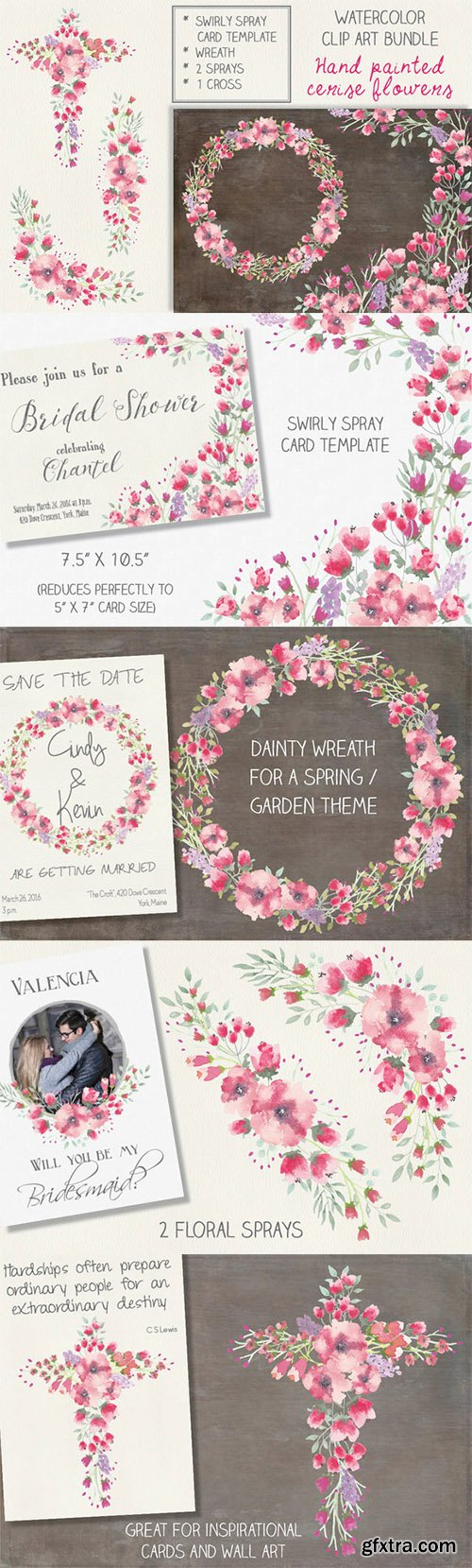 Watercolor clip art bundle: cerise - CM 554272