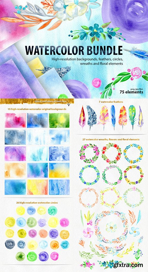 Watercolor bundle: textures and more - CM 547726
