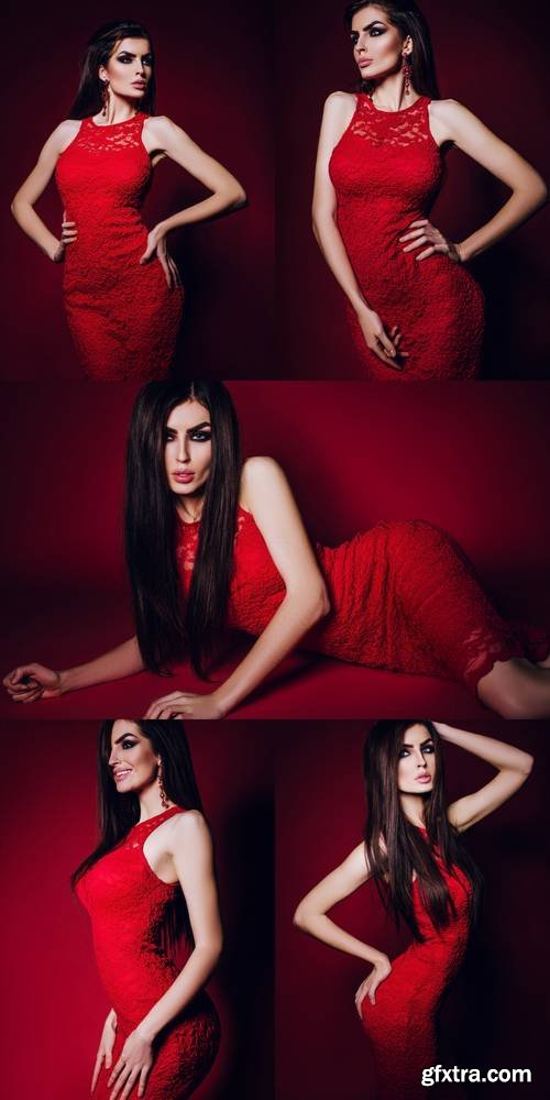 Long Hair. Beautiful Elegant Brunette Girl Model in a Red Lace Dress, with Makeup