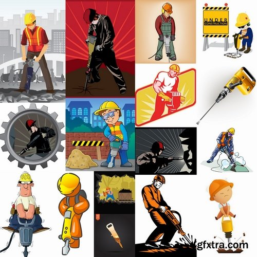 Collection jackhammer construction worker 25 EPS