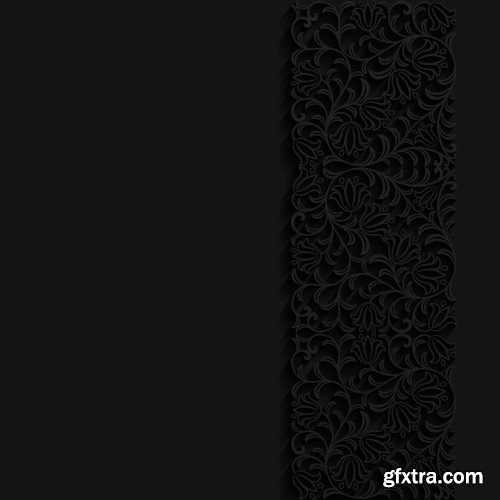 Abstract black background with floral pattern