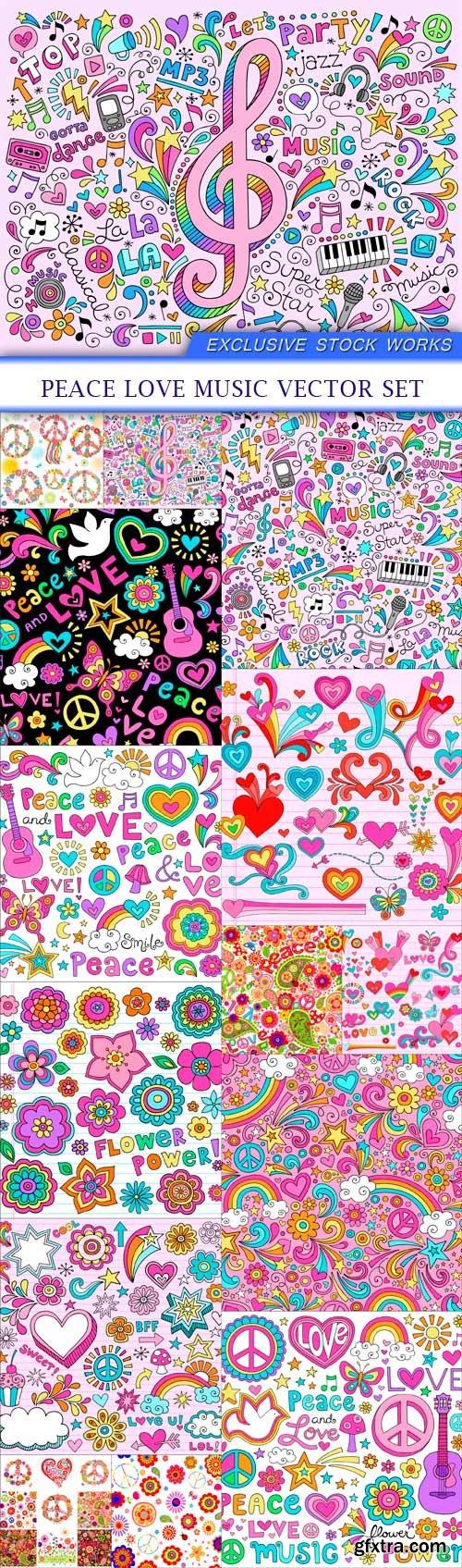 Peace Love Music Vector Set 14X EPS