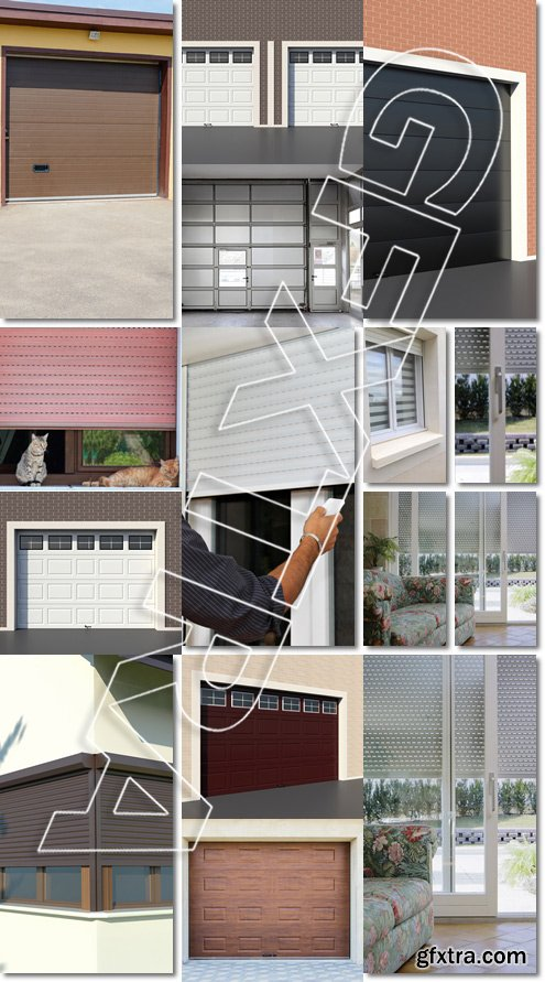 Sectional motorized big metal garage door, store electrique d'interieur - Stock photo