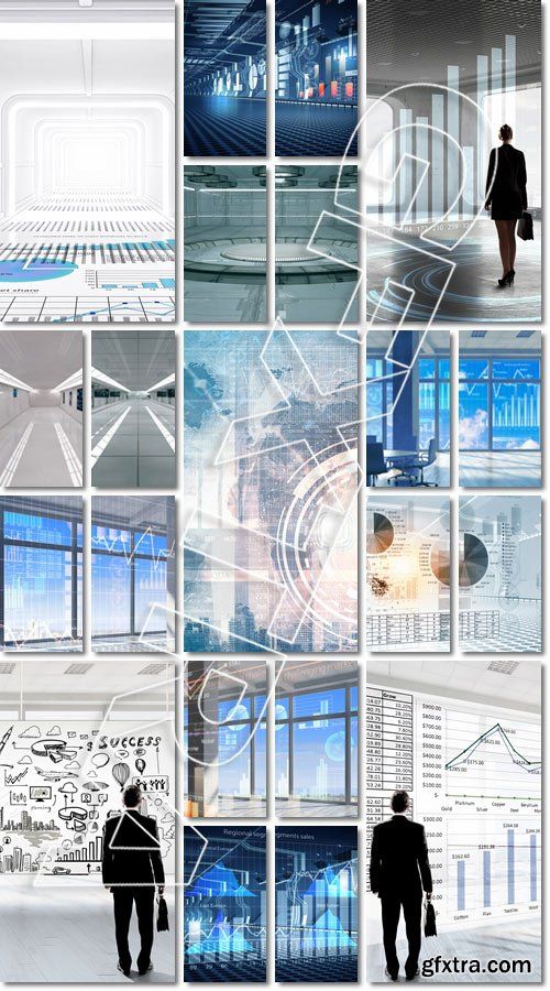 Modern office window view with virtual market infographs - Stock photo