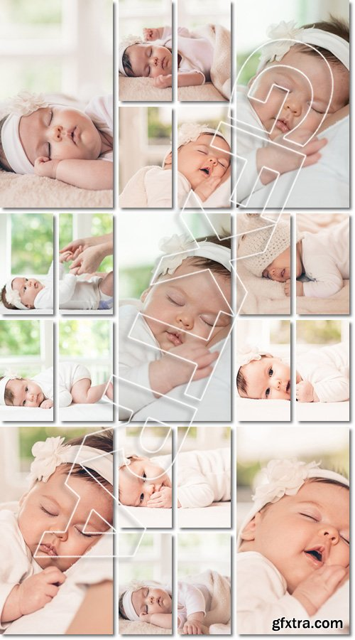 Portrait of a baby beautiful & adorable sleeping girl - Stock photo